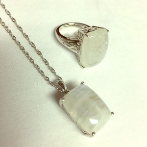 Moonstone Necklace and Ring Set
